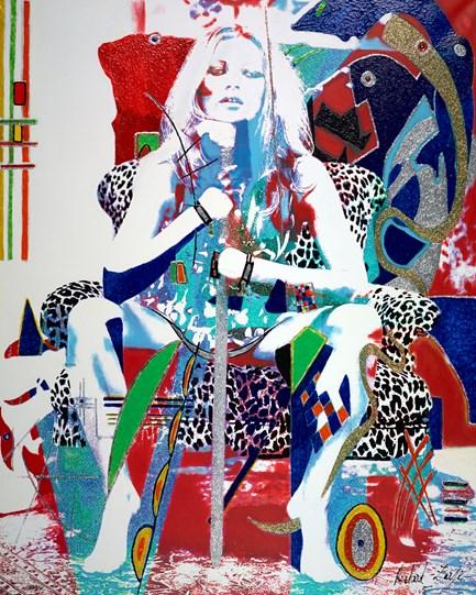 Kate Moss Wild by Richard Zarzi - Original Painting on Box Canvas